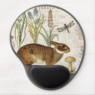 modern vintage french rabbit in the garden gel mouse mat