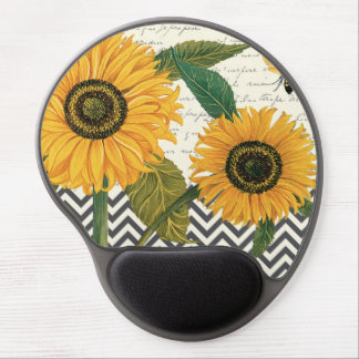 modern vintage french sunflower gel mouse pad