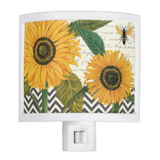 modern vintage french sunflower nite lite