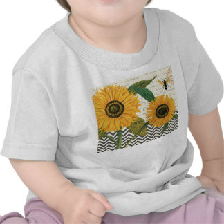 modern vintage french sunflower t shirts