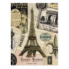 Modern Vintage French travel collage Postcard