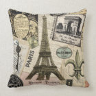 Modern Vintage French travel collage Throw Pillow