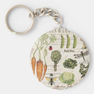 modern vintage french vegetable garden basic round button keychain