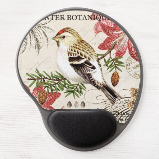 modern vintage french winter bird gel mouse pads