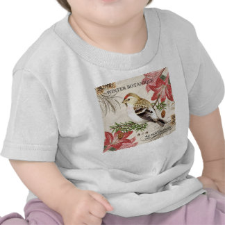 modern vintage french winter bird shirt