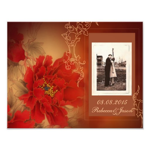 modern vintage gold burgundy floral save the date photo