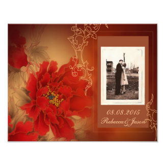 modern vintage gold burgundy floral save the date photographic print