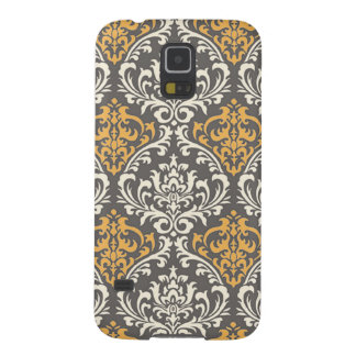 modern vintage grey and yellow damask cases for galaxy s5