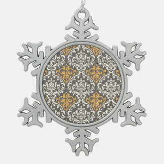 modern vintage grey and yellow damask pewter snowflake ornament