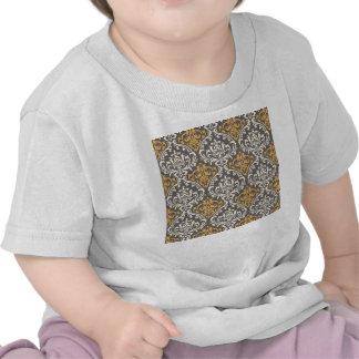 modern vintage grey and yellow damask shirt