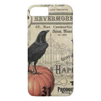 MODERN VINTAGE HALLOWEEN CROW AND PUMPKIN iPhone 7 CASE