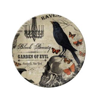 modern vintage halloween crow and skull plate