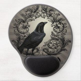 modern vintage halloween crow gel mousepads
