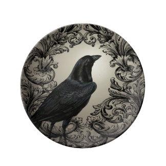 modern vintage halloween crow porcelain plates
