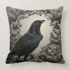 modern vintage halloween crow throw pillow