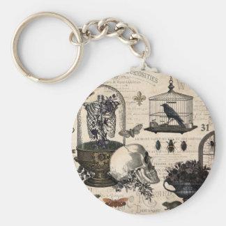 Modern Vintage Halloween Garden Basic Round Button Keychain