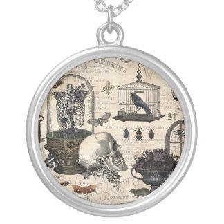 Modern Vintage Halloween Garden Silver Plated Necklace