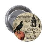 modern vintage halloween pumpkin and crow 2 inch round button