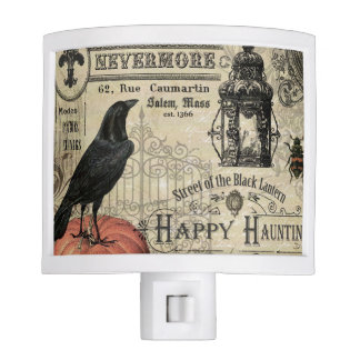 modern vintage halloween pumpkin and crow nite light