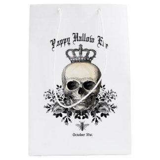 Modern Vintage Halloween skull and crown Medium Gift Bag