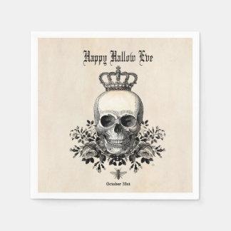 Modern Vintage Halloween skull and crown Paper Napkins