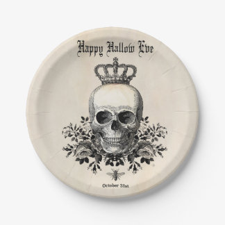Modern Vintage Halloween skull and crown Paper Plate
