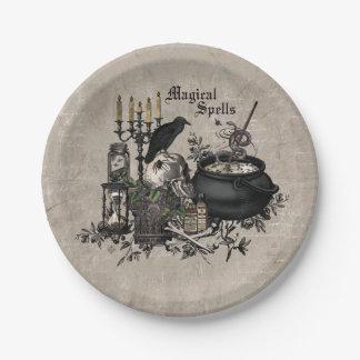 Modern vintage Halloween skull Paper Plate