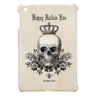 Modern Vintage Halloween skull with crown iPad Mini Covers