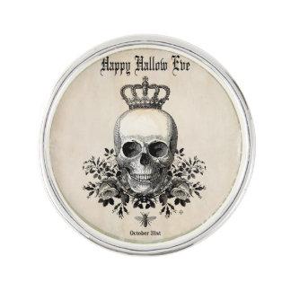 Modern Vintage Halloween skull with crown Lapel Pin