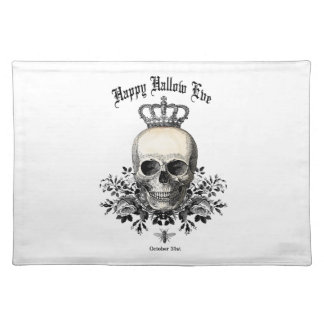 Modern Vintage Halloween skull with crown Placemat