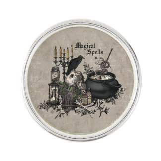 Modern vintage Halloween WITCHES BREW Lapel Pin