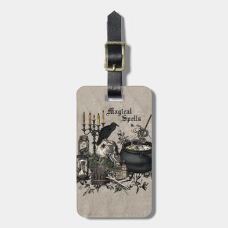 Modern vintage Halloween WITCHES BREW Luggage Tag