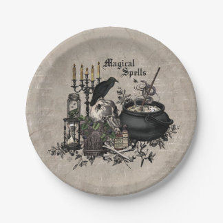 Modern vintage Halloween WITCHES BREW Paper Plate