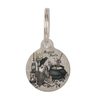 Modern vintage Halloween WITCHES BREW Pet ID Tag