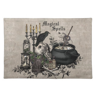 Modern vintage Halloween WITCHES BREW Placemat