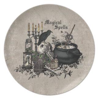 Modern vintage Halloween WITCHES BREW Plate