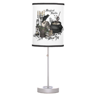 Modern vintage Halloween WITCHES BREW Table Lamp