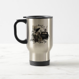 Modern vintage Halloween WITCHES BREW Travel Mug