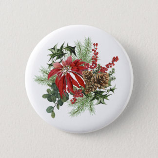 modern vintage holiday poinsettia floral 2 inch round button