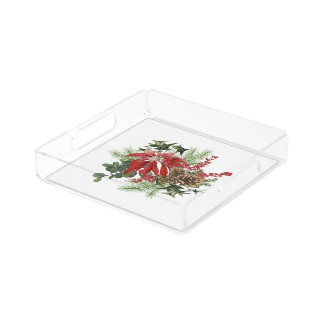 modern vintage holiday poinsettia floral acrylic tray
