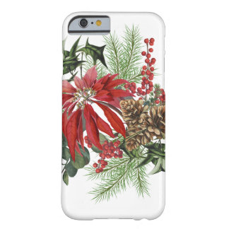 modern vintage holiday poinsettia floral barely there iPhone 6 case