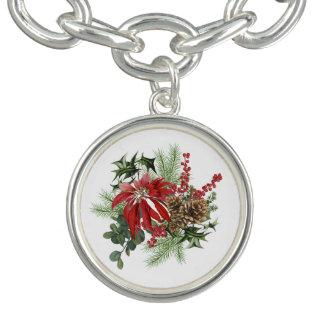 modern vintage holiday poinsettia floral bracelet