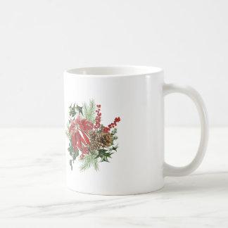 modern vintage holiday poinsettia floral coffee mug