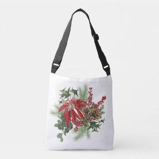 modern vintage holiday poinsettia floral crossbody bag