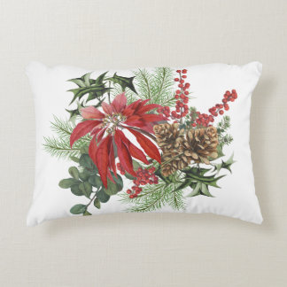 modern vintage holiday poinsettia floral decorative pillow