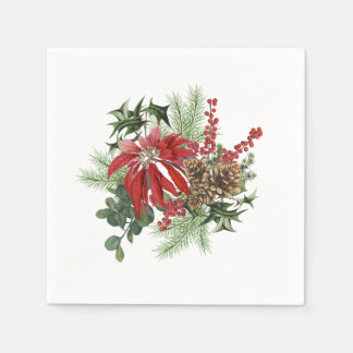 modern vintage holiday poinsettia floral disposable napkin