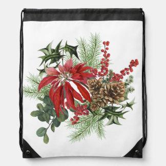 modern vintage holiday poinsettia floral drawstring bag