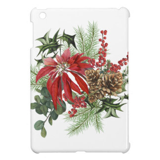 modern vintage holiday poinsettia floral iPad mini case