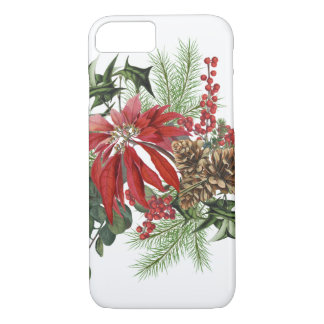 modern vintage holiday poinsettia floral iPhone 8/7 case