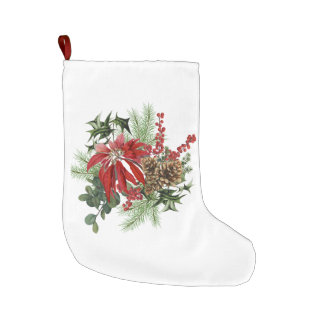 modern vintage holiday poinsettia floral large christmas stocking